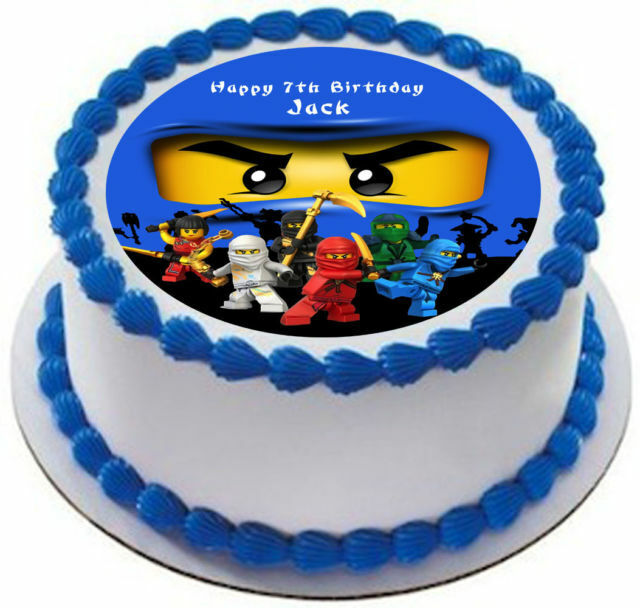 "NINJAGO  8/"" ROUND BIRTHDAY ICING CAKE TOPPER"