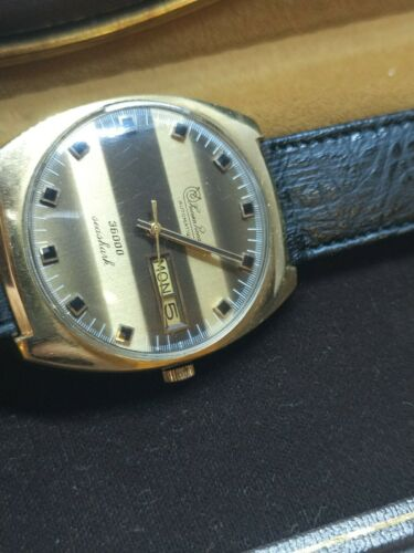 Vintage-Lucien-Piccard-Seashark-Hi-Beat-36000-Gold-Plated-Men-039-s-Watch-With-Box