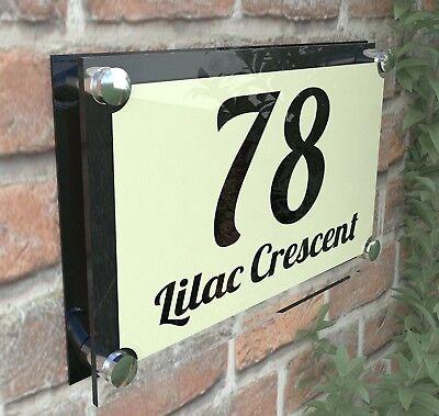 MODERN HOUSE SIGN DOOR NUMBER PLAQUE STREET GLASS EFFECT ACRYLIC ParA4-1BVP