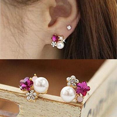 1 Pair Flower Earrings Colorful Crystal Rhinestone Pearl Ear Stud Earring New