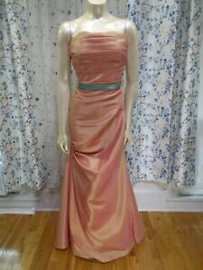 James-Clifford-Coral-prom-evening-formal-dress-taffeta-mermaid-womens-size-12