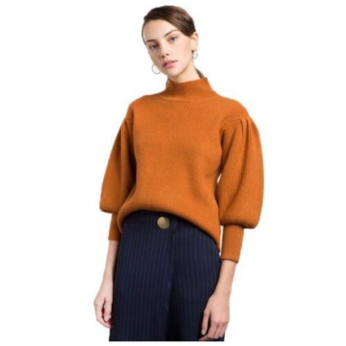4 Rust Ribbed Sleeve Sweater Orange C34 Puff 3 Turtleneck wrCqtrR