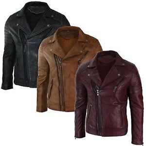 6c505cc62 Details about Mens Slim Fit Cross Zip Brando Washed Leather Jacket Black  Brown Tan Burgundy