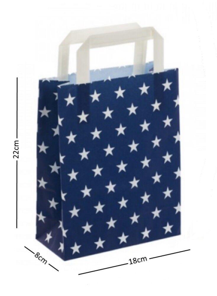 Blau & Weiß Stars Birthday Party Paper Loot Gift Bags - Wedding Boutique Bag