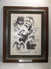 Vintage Bill Devine Etched Crystalline Marble ALASKA Wildlife Plaque SIGNED