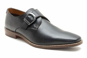 Red Tape Sutton Mens Leather Formal Side Buckle Shoes Black