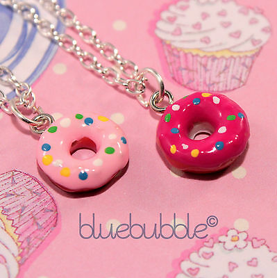 FUNKY 14mm RING DONUT NECKLACE CUTE KITSCH KAWAII RETRO SWEET JUNK FOOD STYLE UK