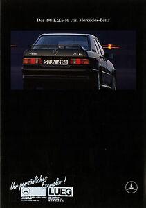 Mercedes-190-E-2-5-16-W-201-Prospekt-1989-7-89-brochure-prospectus-prospecto-Pkw