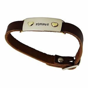 Sisters-Buckle-Bracelet-Adjustable-Leather-Strap-Hearts-Best-Friends-Family