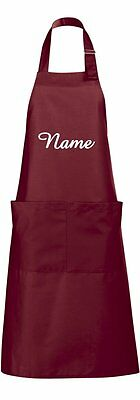 "Valuable Embroidered Kitchen Apron with "" Name "" Grill Cook Back Bib Apron BBQ"