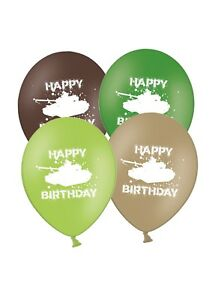 Happy-Birthday-Army-Tanks-12-034-Printed-Latex-Balloons-Asst-5-ct-By-Party-Decor