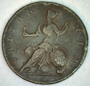 1729-Colonial-Great-Britain-British-Half-Penny-Copper-Coin-1-2c-UK-George-II