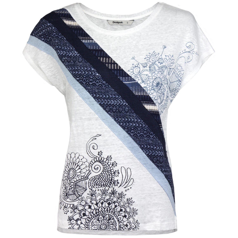 Desigual Damen T-Shirt Shirt florale Prints Borten seitliche Schlitze