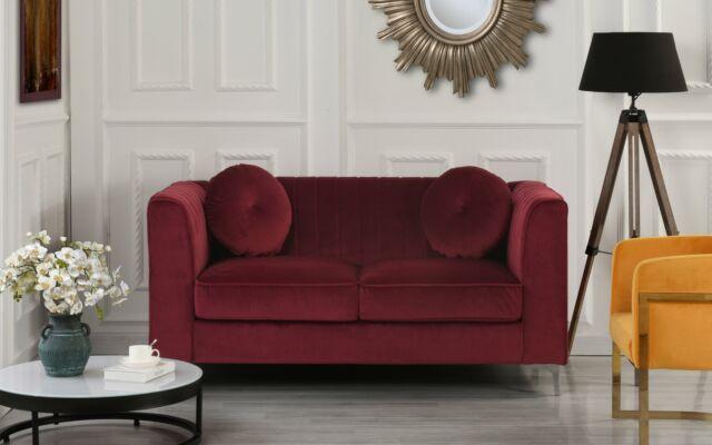 Red Elegant Velvet Loveseat Sofa Living Room Couch with Modern Pleated  Backrest
