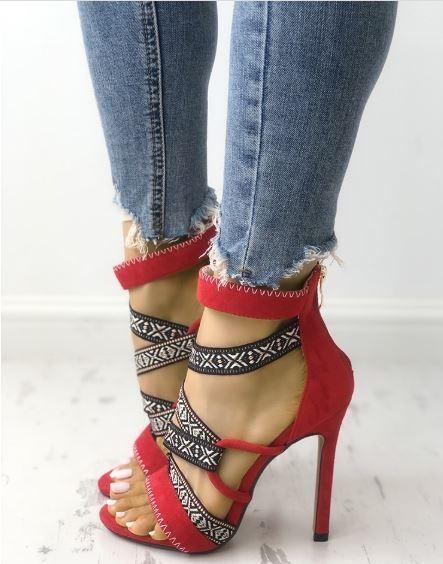 Sandale stiletto tronchetto rosso colorato 12 cm  simil pelle eleganti 1362