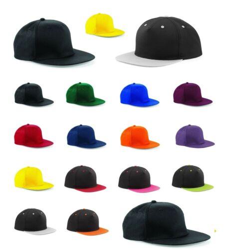 Snapback Baseball Cap New Black Plain Hat Hip Hop Fitted Flat Peak