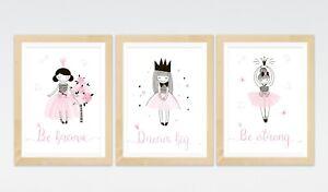 3 Princess Ballerina Quote Prints Fairy Tale Posters Nursery Wall Art