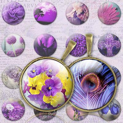 Blumen Fotocollage Collage Digital Sheet lila Anhänger Fassunge Beads