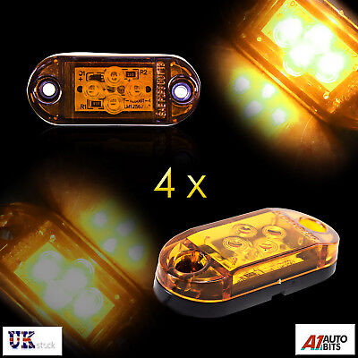 10 X 12V ORANGE LED SIDE CHROME MARKER LIGHTS LAMP INDICATOR TRAILER HORSEBOX