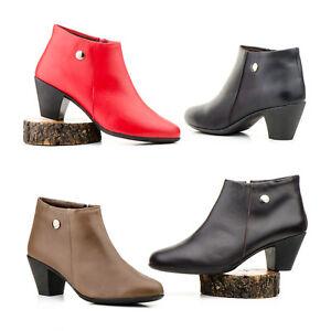 Botines-de-Piel-de-Mujer-Rojo-Negro-Taupe-Marron-Talla-36-37-38-39-40-41-Espana