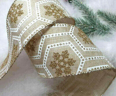 1m 65mm WIRED CHRISTMAS RIBBON IVORY GOLD SPARKLY GLITTER SNOWFAKE,GIFT TREE BOW