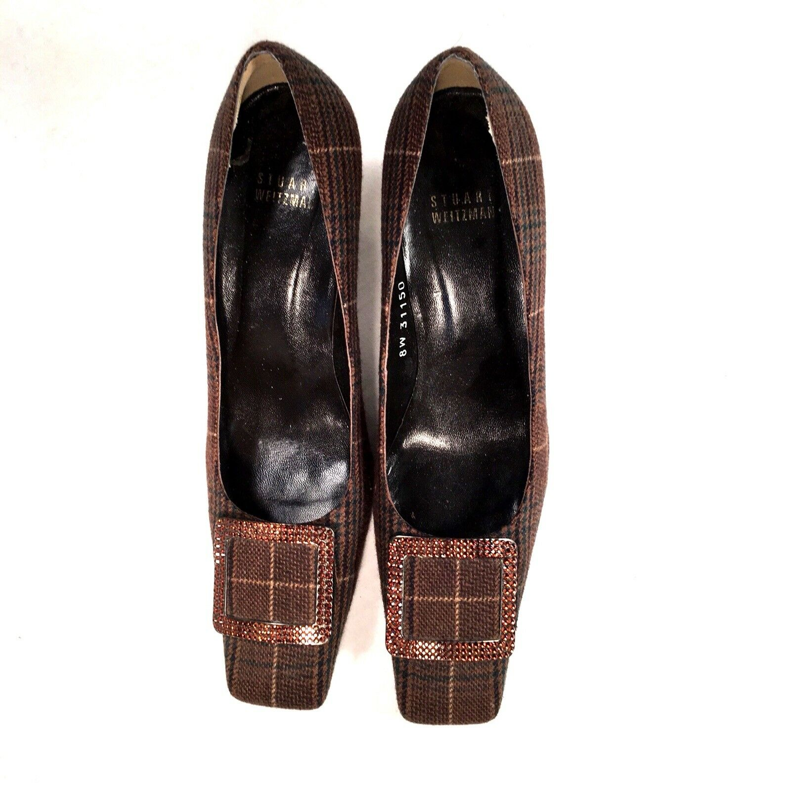 Stuart Weitzman Brown Plaid shoes with jewel buckle Size 7 1 2