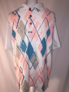 Oakley-Polo-Golf-Men-039-s-Vintage-Shirt-Metal-Oakley-Insignia-Peach-Teal-Off-White