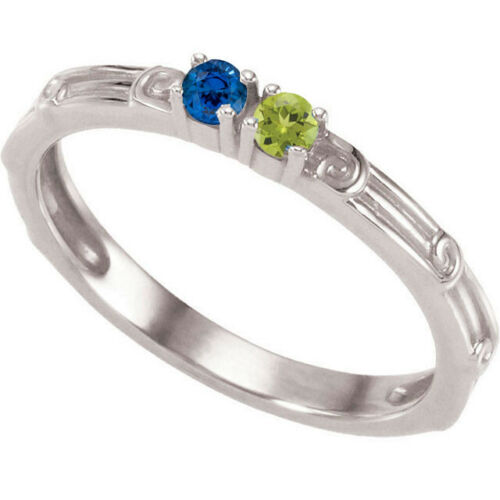Mother/'s Jewelry Sterling Silver 1 to 4 Round Birthstones Mothers Ring