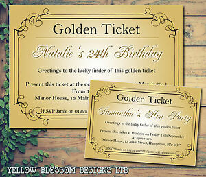 10 hen party invites golden ticket wonka personalised birthday image is loading 10 hen party invites golden ticket wonka personalised filmwisefo Images