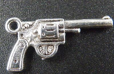 50pcs Tibetan Silver Gun Pendants Charms 24x12.5mm ZN46115