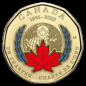 2020 Canada 75th anniversary of UN Charter COLOURED $1 Loonie