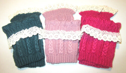 Women/'s Crochet Knitted Lace Trim Boot Cuffs Toppers Leg Warmers