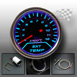 Exhaust temp gauge smoked dial Blue LED 52mm interior dash panel lighting bulb