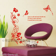 Swirl Flowers Butterfly & Quote Magenta Home Decor Vinyl Wall Sticker Art Decal