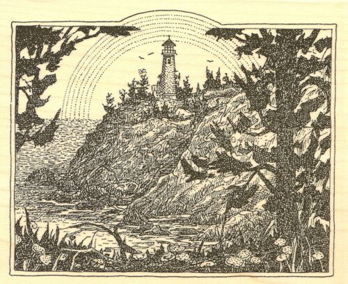 LIGHTHOUSE RAINBOW Wood Mounted Rubber Stamp Impression Obsession G1986 NEW