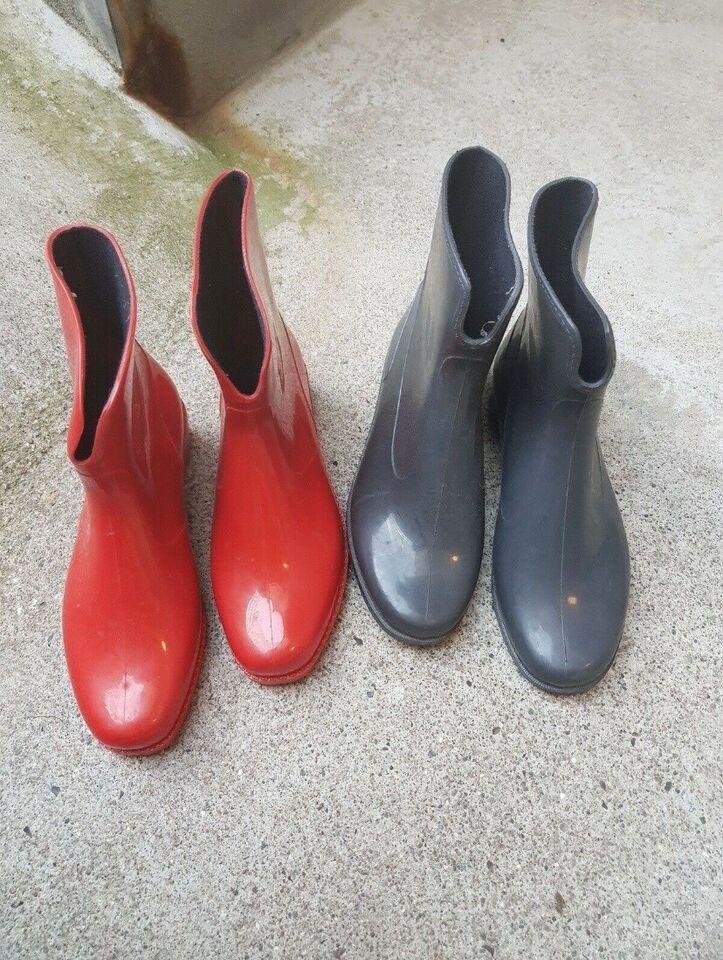 Gummistøvler, str. 36,5, Rød og sort