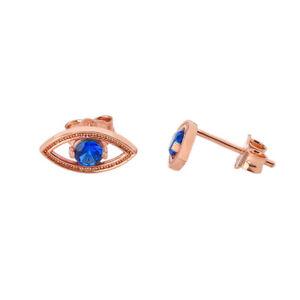 Solid-Rose-Gold-10K-14K-Eye-Evil-Stud-Earrings
