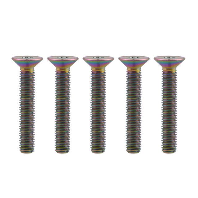 5X Titanium Flat Hex Head Bolts Screws M5x10 12 15 20 25 30mm Ti Bolt Fasteners