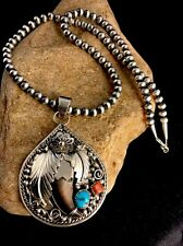 """Native American Sterling. Silver Turquoise Coral Bear Necklace Pendant 3.28"""""""