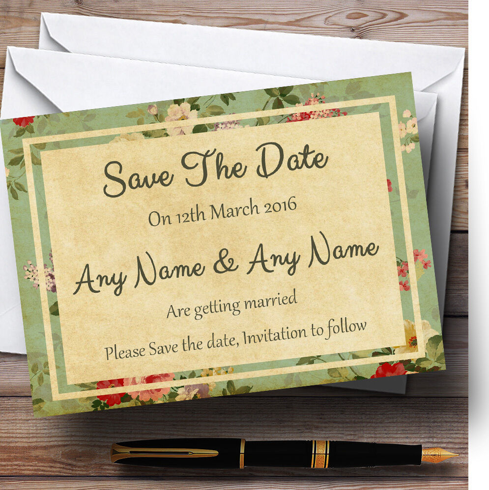 Vintage Shabby Chic Carte postale style personnalisé the mariage save the personnalisé date cards b69f4b