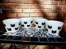 NEW SET OF 222 FIFTH GHOSTS & GHOULS 4 WHITE & BLACK CAT BOWLS HALLOWEEN