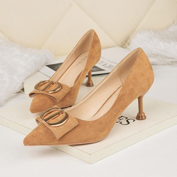 chaussures decolte eleganti stiletto 6 cm beige scamosciato comodi simil pelle 1565
