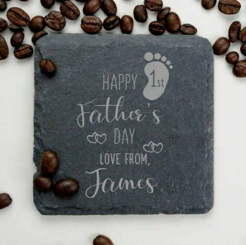 Première fête des pères Ardoise Dessous De Verre Cadeau Personnalisé Pour Papa Nouveau papa de bébé