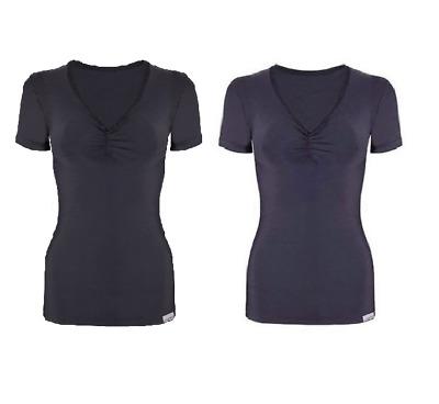 Proskins Slim Anti Cellulite Ruched Short Sleeve Top Black Navy *SALE*