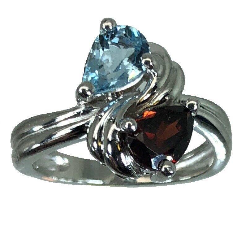 14k Aquamarine & Garnet  Ring, White, Yellow, pink gold, FREE SIZING US made