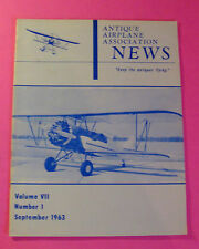 ANTIQUE AIRPLANE NEWS MAGAZINE SEPT/1963.. VOL. Vll #1..WACO YKS-6 AFTER REBUILD