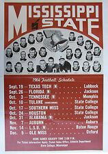 1964 Mississippi State College Football Schedule Poster