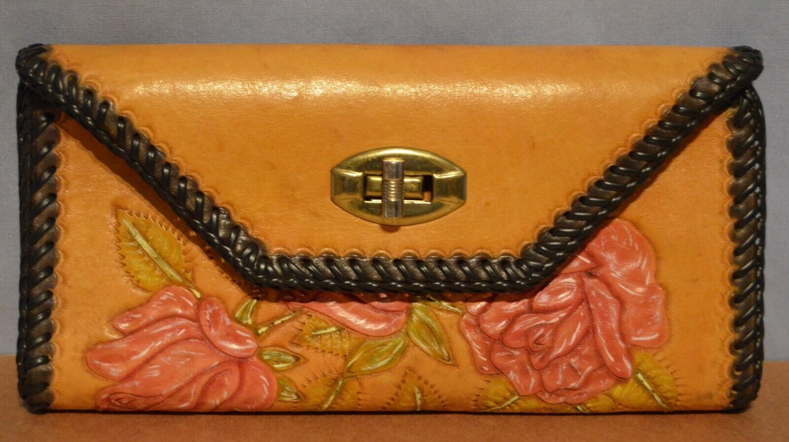 Hand Tooled Trifold Leather Wallet Floral Roses Womens Vintage Western Billfold
