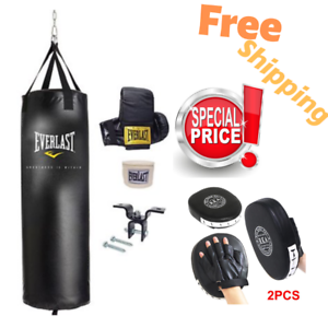 Heavy Boxing Punching Bag 70 Lbs Training Kit And Kick MMA Punch Pad Glove