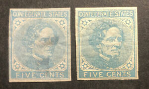 TDStamps: US Confederate States CSA Stamp Scott#6 (2) Mint 1H OG Crease 1NG Thin